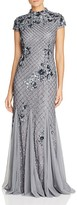 Adrianna Papell Embellished Mock Neck Gown