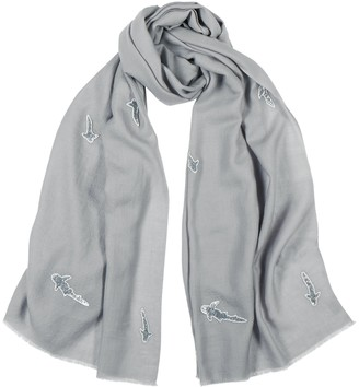 Janavi India Grey bead-embellished merino wool scarf