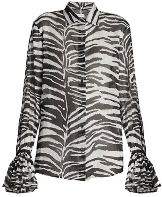 Dries Van Noten Zebra-Print Ruffle-Cuff Shirt