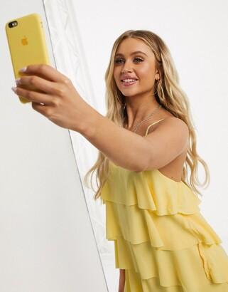 Girl In Mind ruffle layered mini dress in yellow