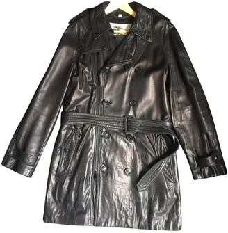 Burberry Black Leather Coats