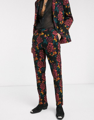 Twisted Tailor jersey suit trousers with floral printing in black