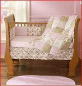 Pem America Step by Step Contempo 4 Piece Crib Set- Pink & Brown by Step by Step