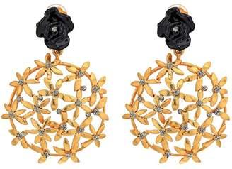 Oscar de la Renta Resin Rose W-Pointed Flower Cluster C Earrings (Black) Earring