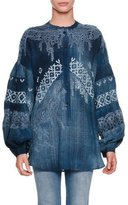 Ermanno Scervino Blouson-Sleeve Oversized Chambray Blouse with Lace Inset