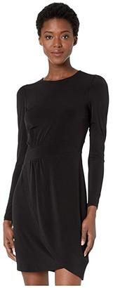MICHAEL Michael Kors Puff Sleeve Wrap Skirt Dress (Black) Women's Dress
