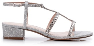 Paradox London Glitter 'Ivana' Crystal Detail Low Heel Sandal