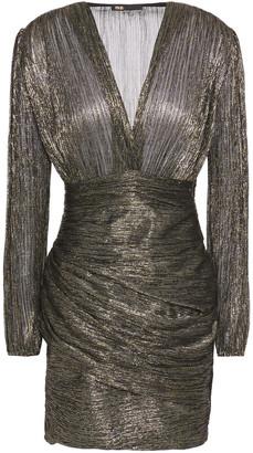 Maje Runny Draped Lame Mini Dress