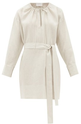 ASCENO Santorini Belted Linen Shirt Dress - Ivory