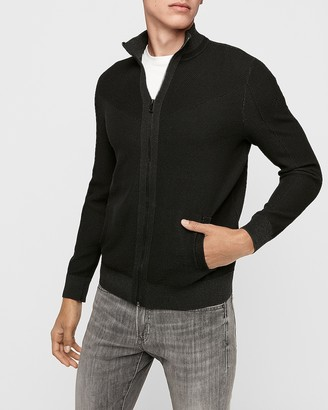 Express Mock Neck Full Zip Bomber Sweater