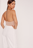 Missguided Chain Back Detail Ribbed Bodysuit Nude