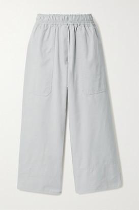 Lee Mathews Net Sustain Cropped Organic Cotton-drill Wide Leg Pants - Sky blue