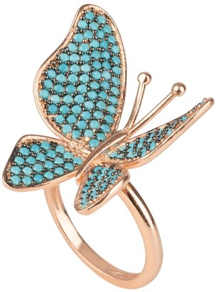 Latelita Butterfly Cocktail Ring Blue Turquoise Rose Gold