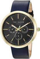 Ted Baker Men's 'JACK' Quartz Stainless Steel and Leather Dress Watch, Color:Blue (Model: 10031501)