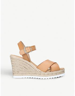 Carvela Koy leather cross strap espadrille wedge sandals