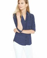 Express slim fit navy and white polka dot portofino shirt