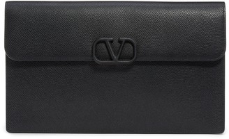 Valentino Garavani Large V-Sling Leather Flat Pouch
