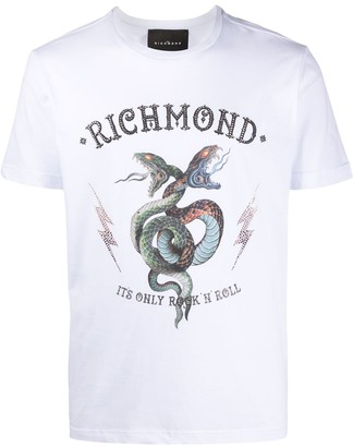 John Richmond studded snake print T-shirt
