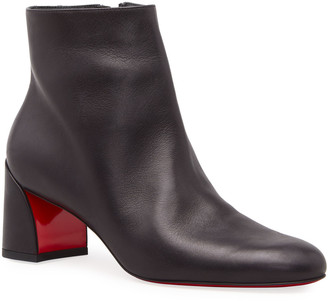 Christian Louboutin Turela Leather Side-Zip Red Sole Booties