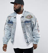 Asos PLUS Oversized Denim Jacket with Embroidery in Blue Wash