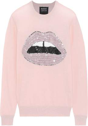 Markus Lupfer Tracy Embellished Melange Cotton Sweater