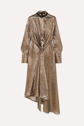 Petar Petrov Leather-trimmed Silk-blend Lame Dress - Gold