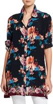 Tolani Plus Size Aniya Blossom-Print Button-Down Long-Sleeve Silk Tunic