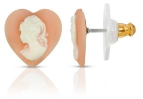 2028 Cameo Heart Post Earrings