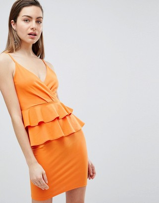 Ivyrevel Cami Mini Dress With Double Ruffle Peplum-Orange