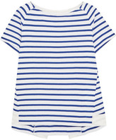 Sacai Dixie Grosgrain-trimmed Striped Cotton-jersey T-shirt - Blue