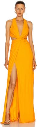 Dundas Twist Cutout Gown in Mango | FWRD