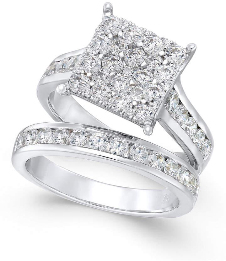 Macy's Diamond Square Cluster Bridal Set (2 ct. t.w.) in 14k White Gold