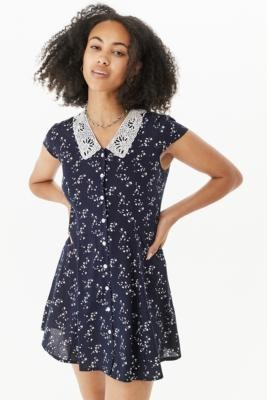Urban Renewal Vintage Urban Outfitters Archive Navy Floral Collar Dress - Blue XS at Urban Outfitters