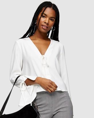 Topshop Clean Crepe Tie Front Blouse