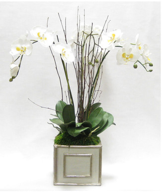 Bougainvillea Artificial Orchid In A Square Wooden Container