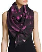 Anna Coroneo Silk Chiffon Square Pollen Scarf, Pink/Black