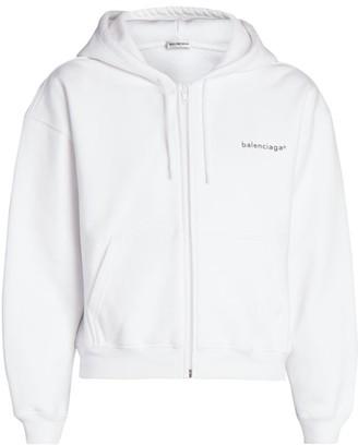 Balenciaga Cropped Zip-Up Hoodie