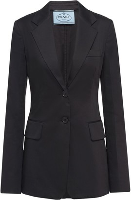 Prada Single-Breasted Sateen Blazer