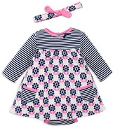 Offspring Infant Girls' Flower Stripe Bodysuit Dress & Headband Set - Sizes 3-9 Months