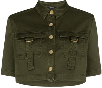 Balmain Military-Look Cropped Shirt