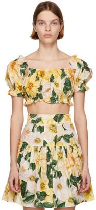 Dolce & Gabbana Yellow Camellia Print Crop Blouse