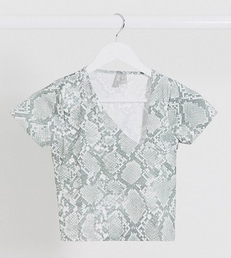 Asos DESIGN Petite mesh top with asymetrical neck line in snake print