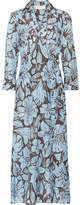Diane von Furstenberg Printed Cotton And Silk-blend Wrap Midi Dress - Sky blue