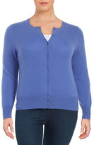 Lord & Taylor Plus Cashmere Button-Front Cardigan