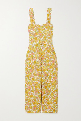 Faithfull The Brand Net Sustain Liv Belted Floral-print Linen Jumpsuit - Yellow