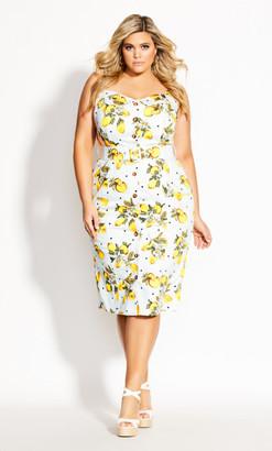 City Chic Lemon Spot Dress - ivory