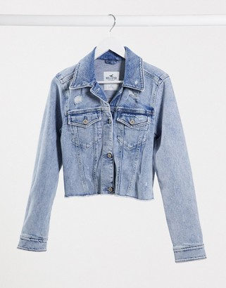 Hollister cropped denim jacket in midwash blue