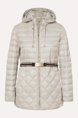 Max Mara The Cube Hooded Belted Quilted Shell Down Coat - Gray
