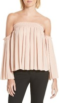 Elizabeth and James Women's Emelyn Pleated Off The Shoulder Top