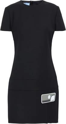 Prada Appliqued Wrap-effect Wool Mini Dress
